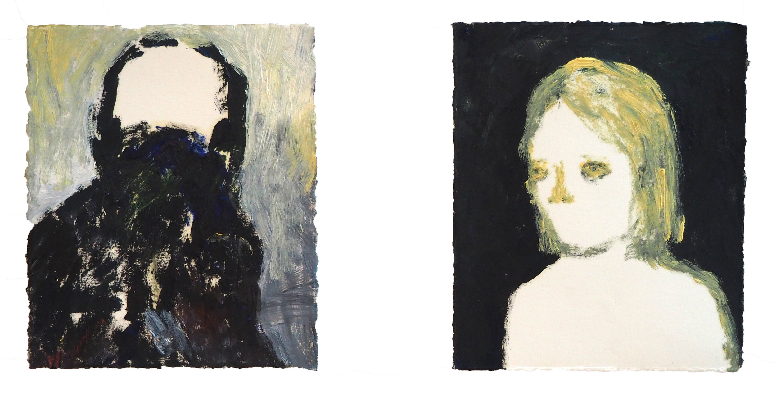 TRIGGER WARNING: Exhibition contains themes of sexual assault     Wilful Blindness  diptych, 2015 Oil on paper 12 x 10.5 cm each