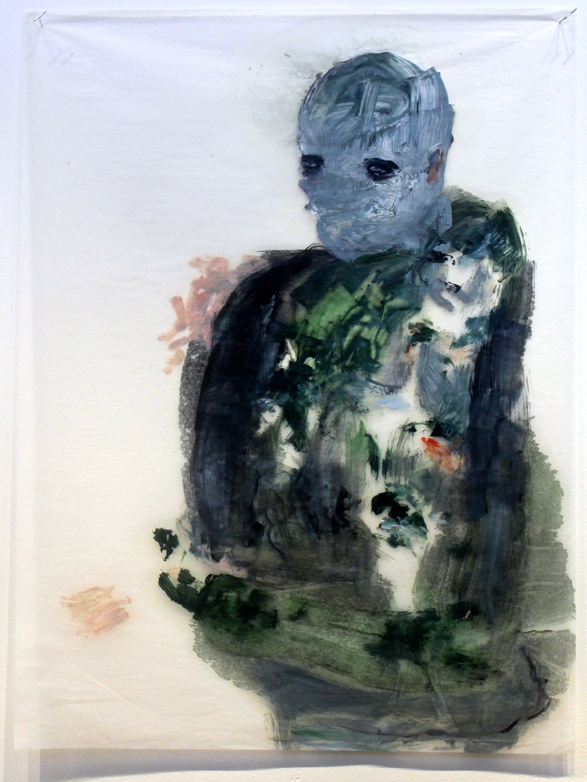 Unable To See , 2014 Oil on gampi silk paper 61 x 51 cm