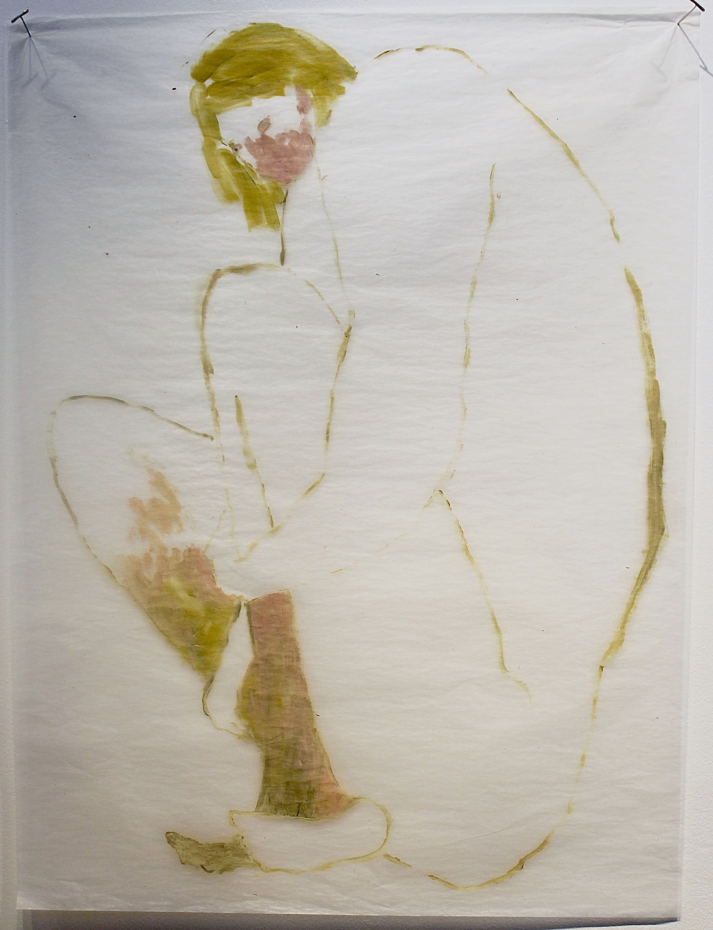 Slowly Disintegrating , 2014 Oil on gampi silk paper 61 x 51 cm