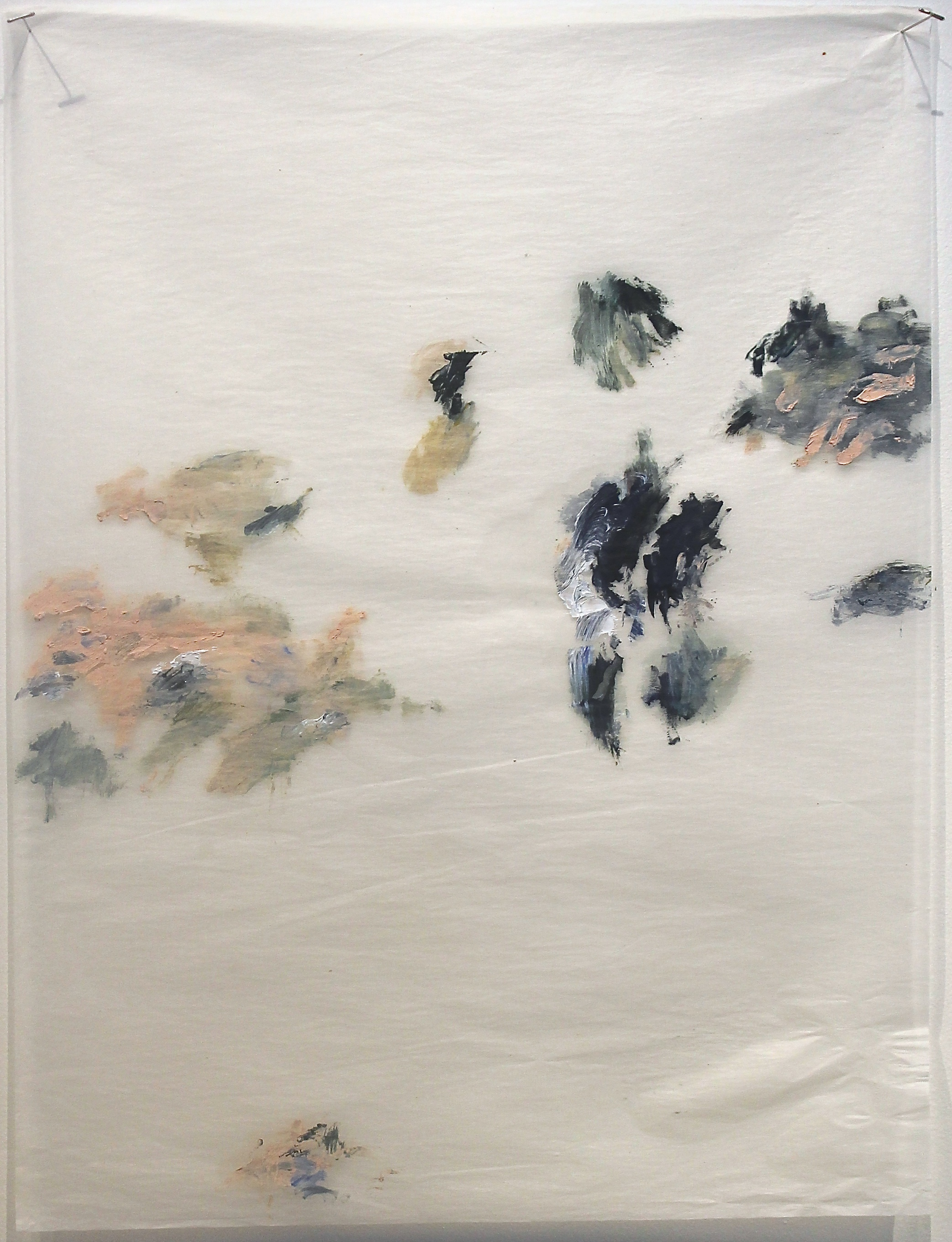Dialogue Between Silence And Noise , 2014 Oil on Gampi silk paper 61 x 51 cm