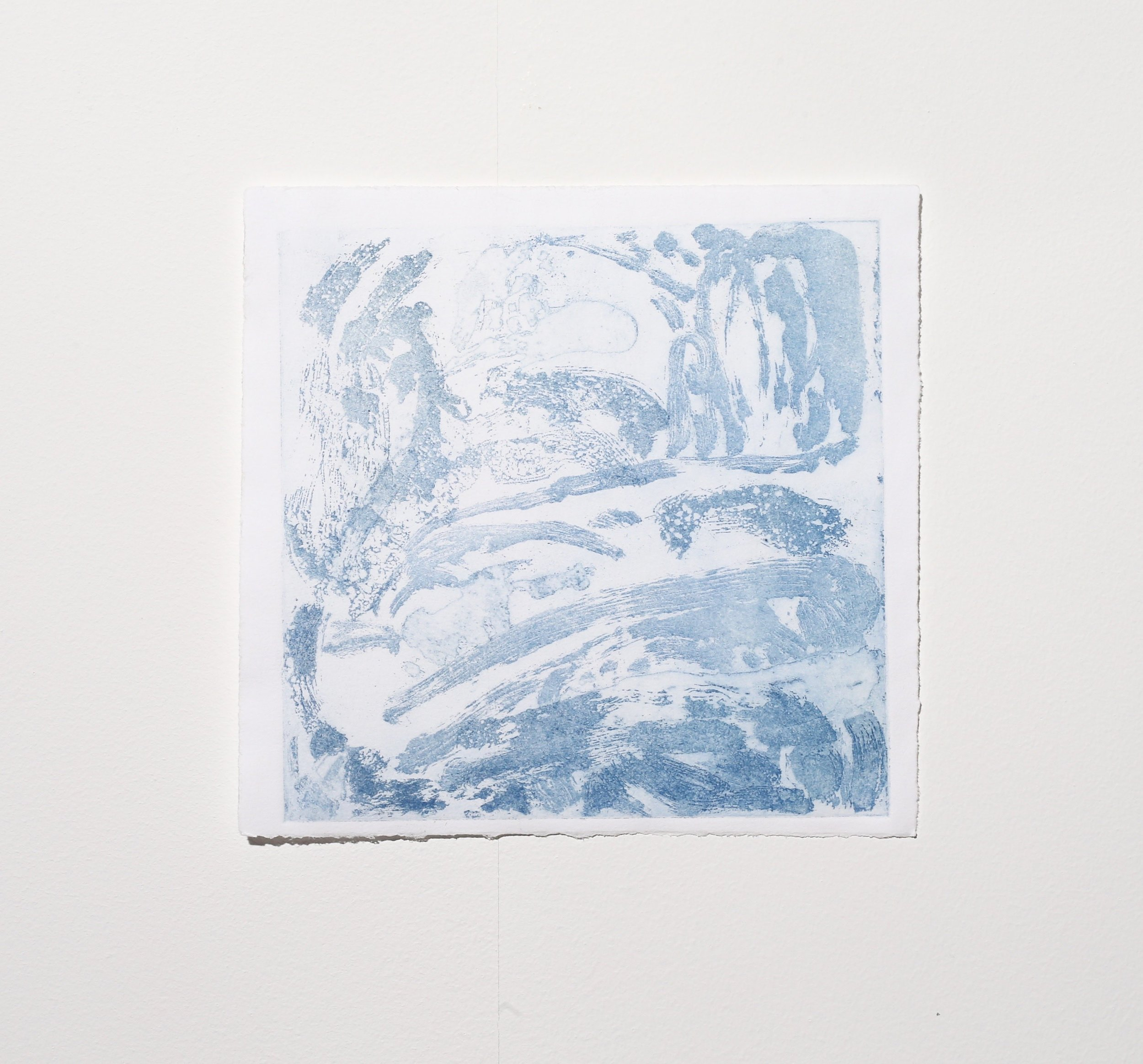 Untitled (stage 2, blue, faint),  2019, sugar lift etching, 14.5 x 14.5 cm (plate size), $65