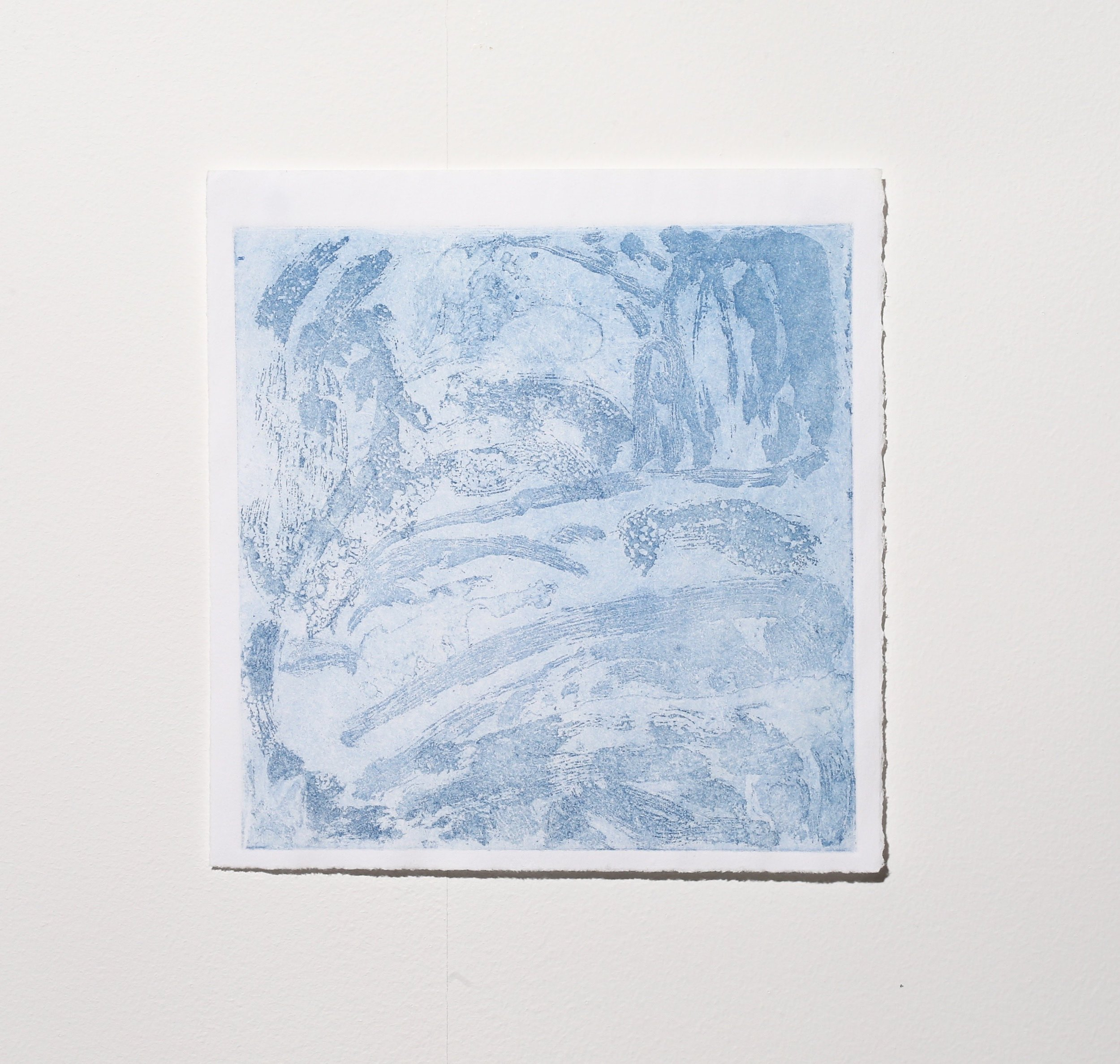 Untitled (stage 2, blue),  2019, sugar lift etching, 14.5 x 14.5 cm (plate size), $65