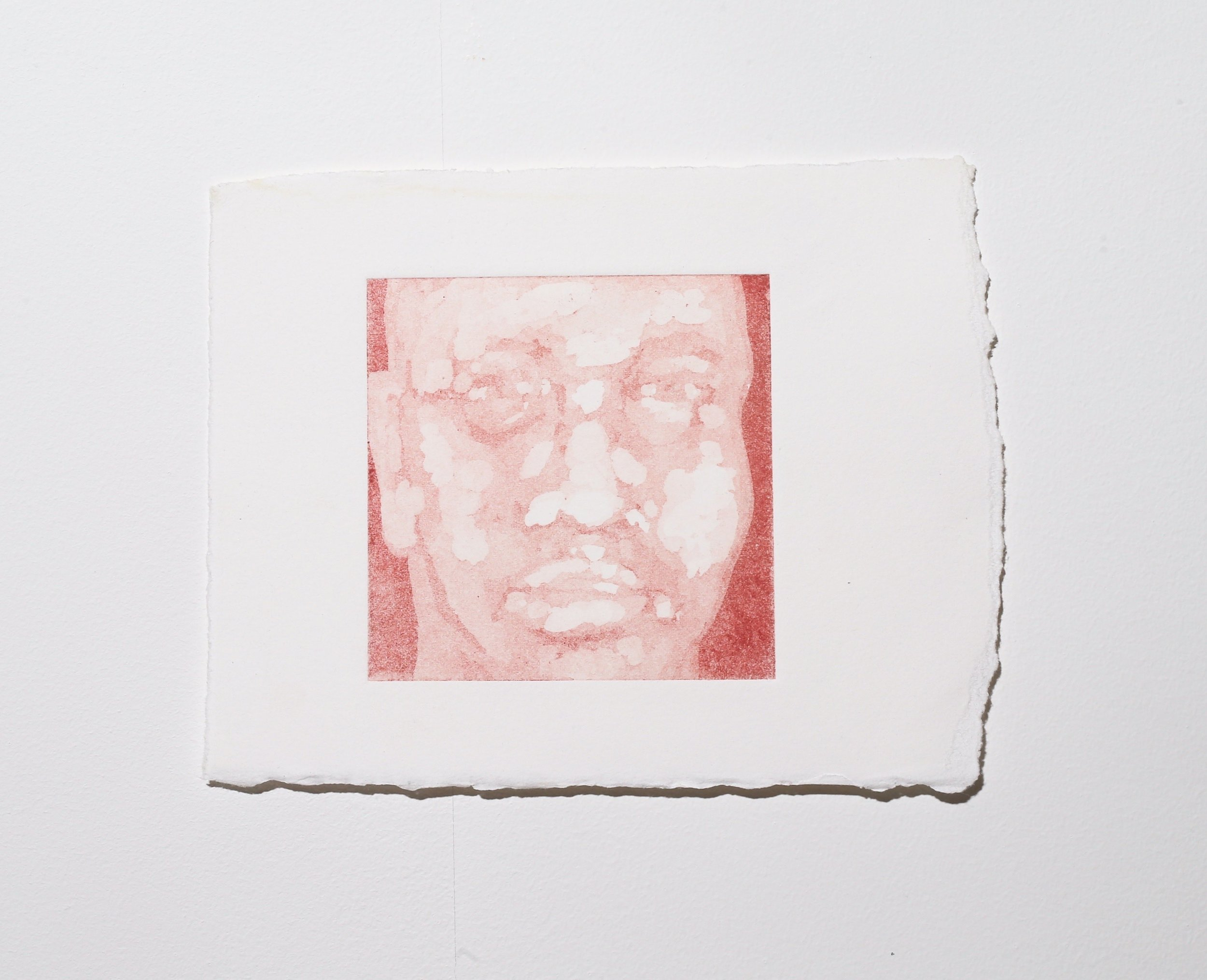 Face (stage 1) , 2019, aquatint, 9.5 x 10 cm (plate size), $60