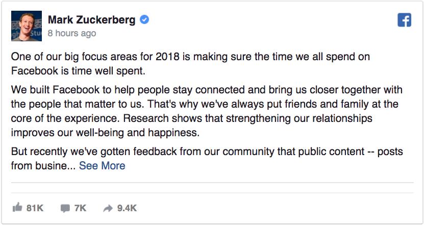 FB ปรับ News Feed รับปี 2018 - เน้นการนำเสนอเนื้อหาดี มีประโยชน์ และเน้นการพูดคุยและมีส่วนร่วมของผู้ใช้