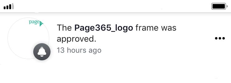 ตัวอย่าง แจ้งเตือน Logo ได้รับการ Approved จาก Facebook เรียบร้อยแล้ว