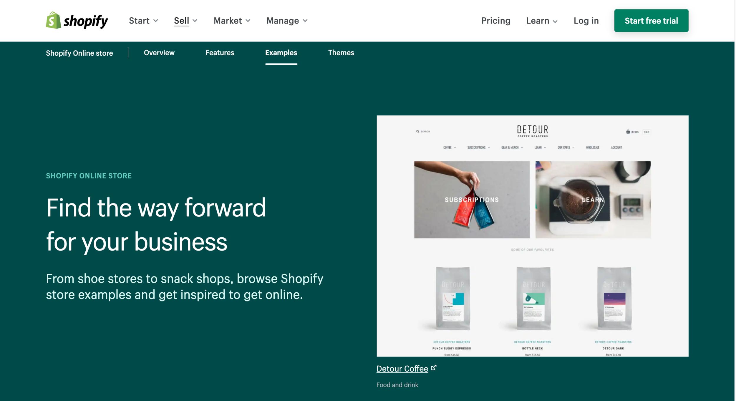 ตัวอย่างหน้าเว็บไซต์ Shopify