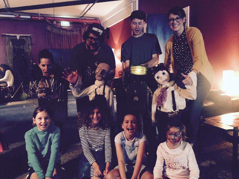 The Cast & Puppets of The Snot-Gobbler with a few of our fans at Te Pou Theatre in New Lynn, 2017
