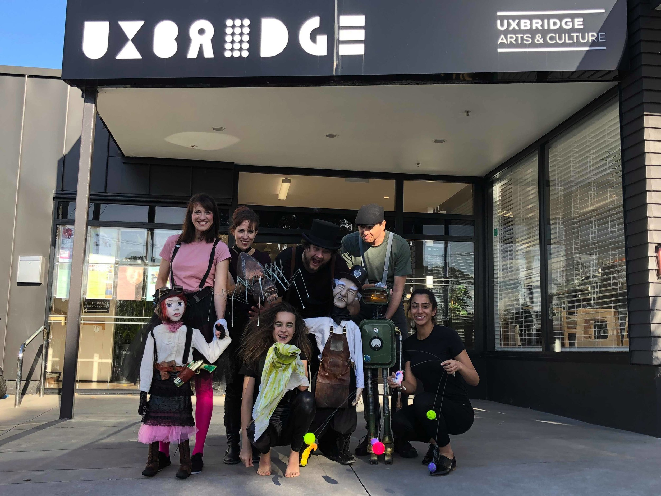 The 2018 Cast of The Snot-Gobbler outside of Uxbridge Arts & Cultural Centre in Howick