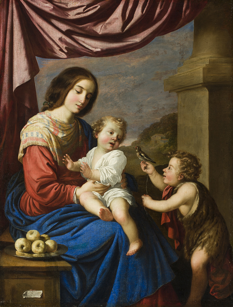 Francisco de Zurbarán.   Virgin and Child with Saint John , 1658.