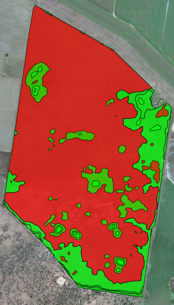 Variable rate map constructed from Satamap data for residual herbicide application.