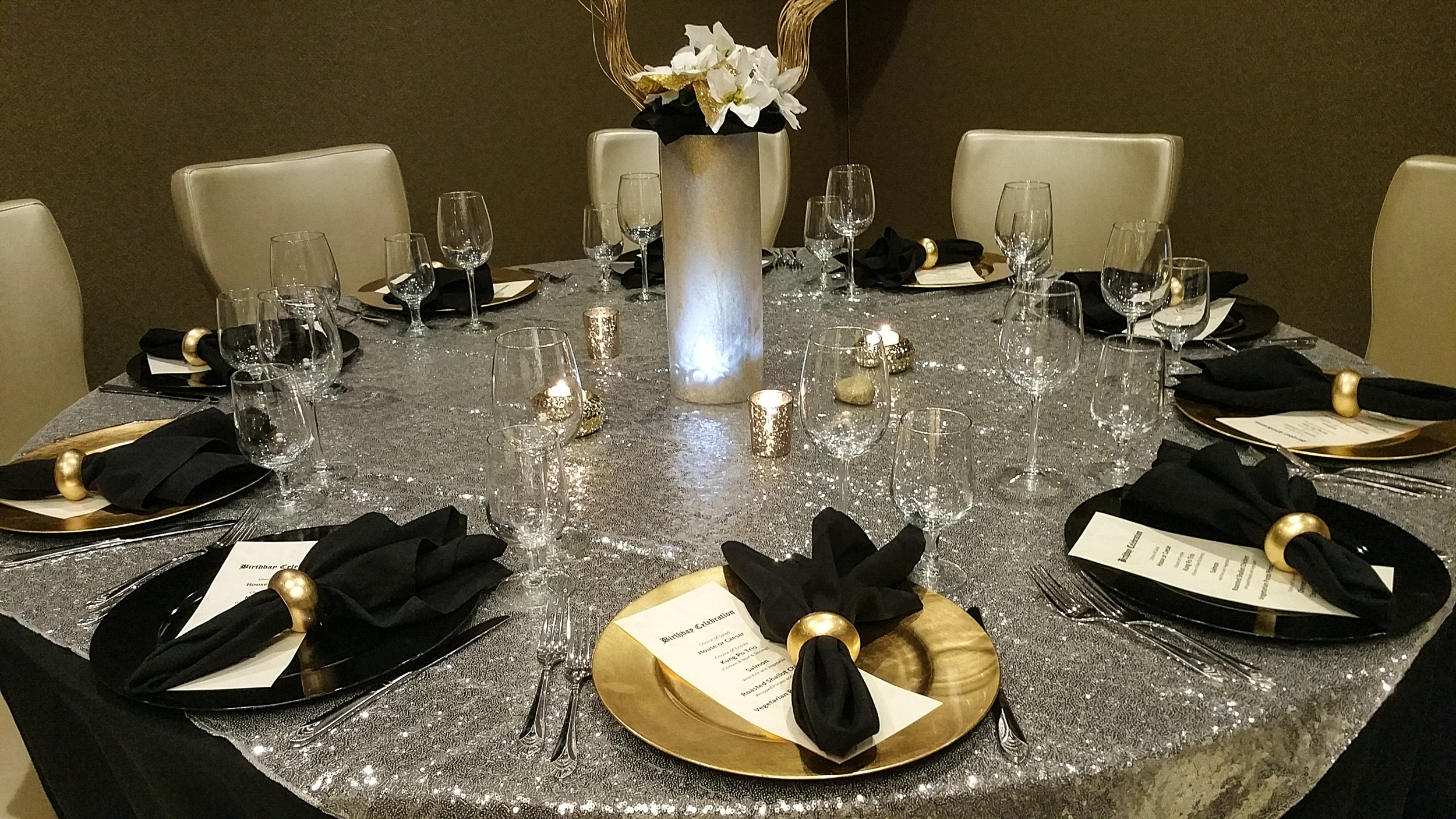 TMG Custom Private Gold & Black Dining Set up