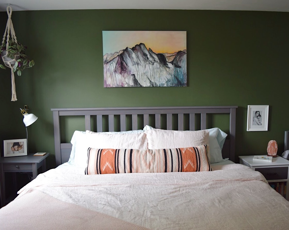 The wall colors in our bedroom are Pure White SW7005 and Secret Garden SW6181. Custom oil painting above our bed is by artist Jade Raue Torgerson. This is the Cascade mountain range we can see from our house.