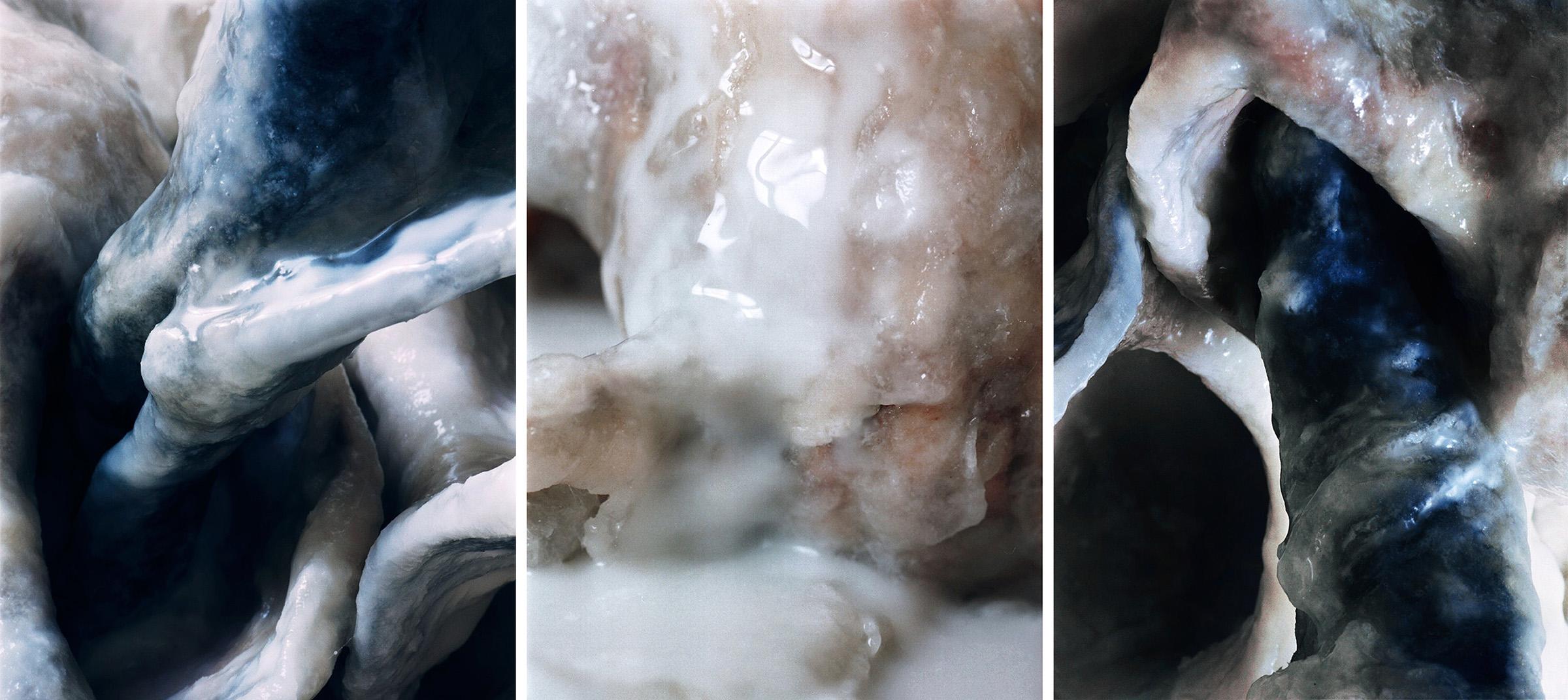 White Fluids  Triptich N°8, 2006/2015  T irages gélatino argentiques, 3 panneaux 144 x 104 cm chacun   Gelatin silver prints, 3 panels 56,69 x 40,94 inches each  4/4