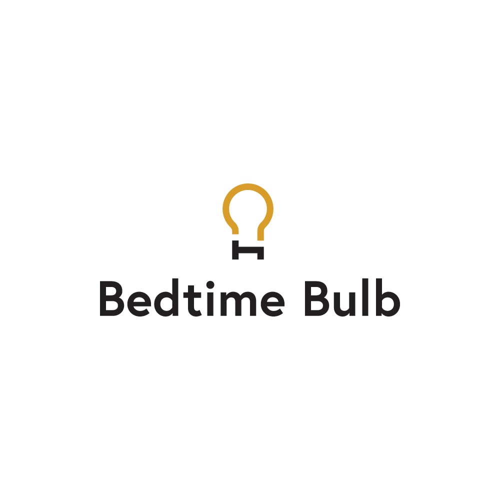 Bedtime Bulb logo - Bedtime Bulb is a light bulb for use in the hour before sleep. The logo is self explanatory and renders good at small sizes.https://bedtimebulb.com