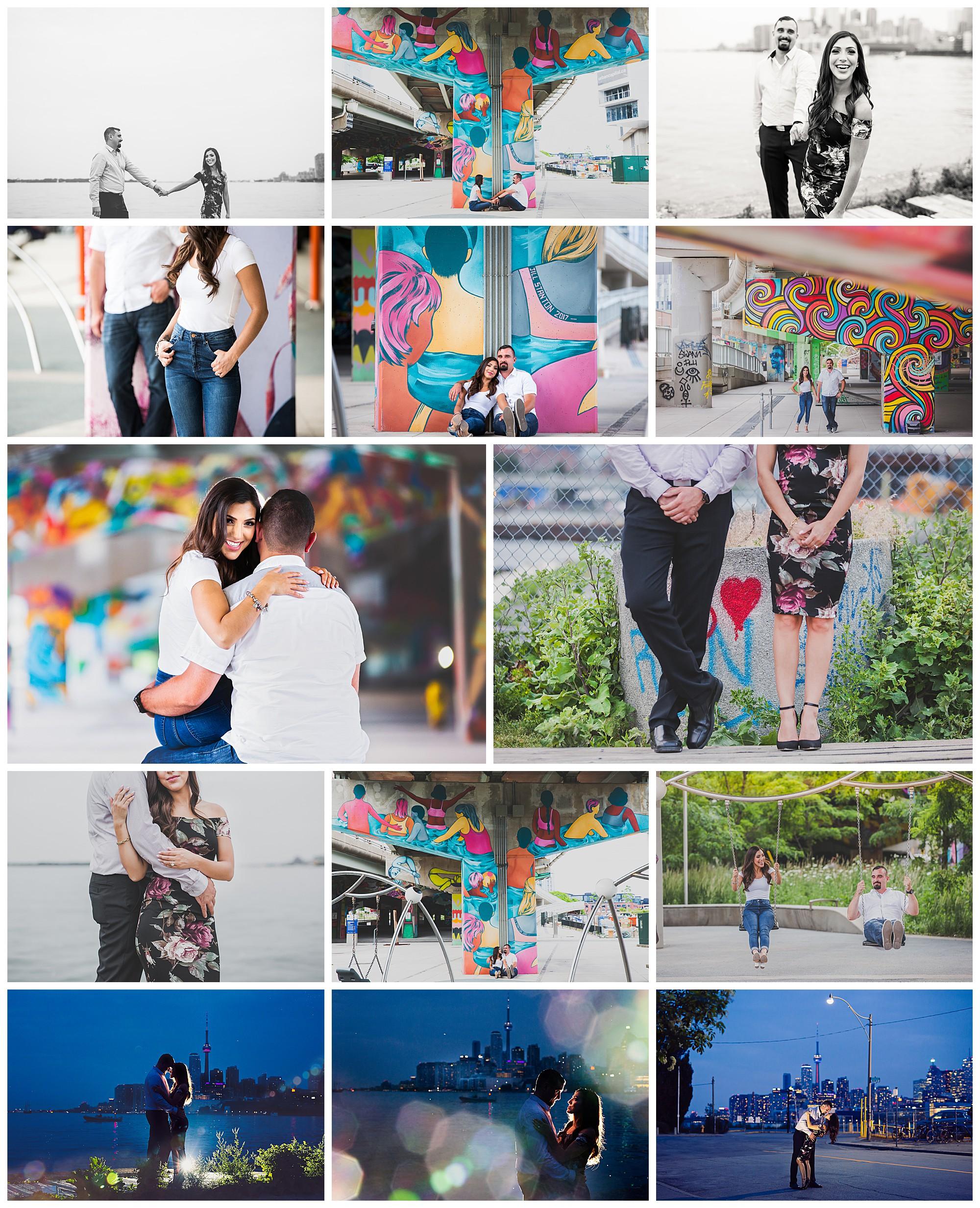 Toronto Lakefront, Toronto Ontario skyline and grafitti engagement photos by VanDaele & Russell