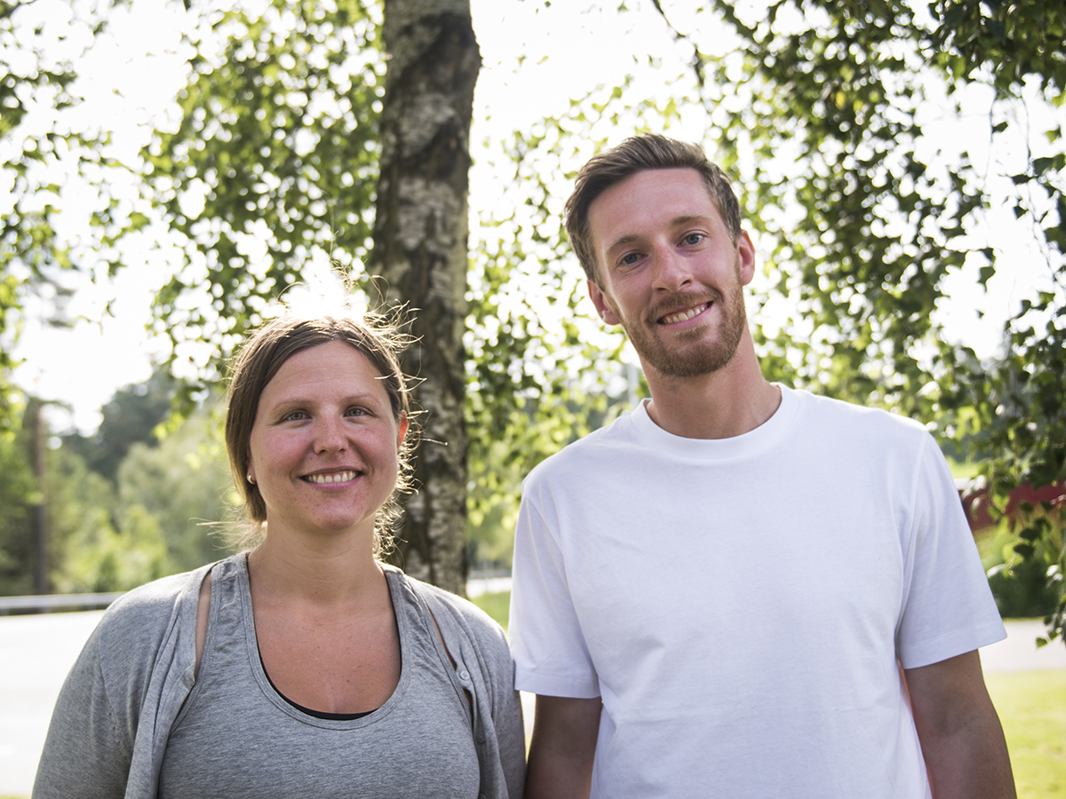 Matilda Ehnberg och Anton Henryson, projektsamordnare på Hässleholm Miljö.