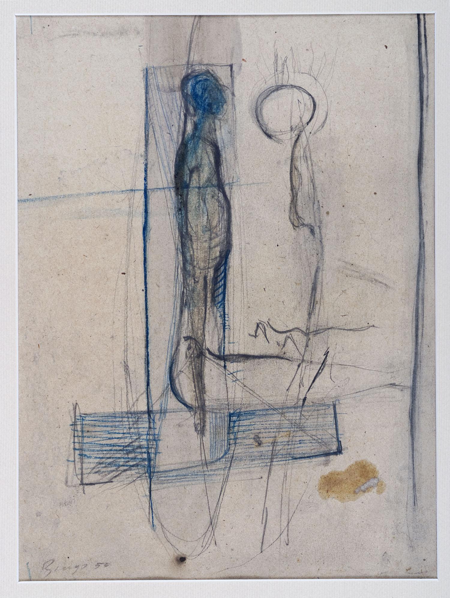 o.T. | 1950 | Bleistift und Buntstift auf Papier | 29 x 21,5 cm