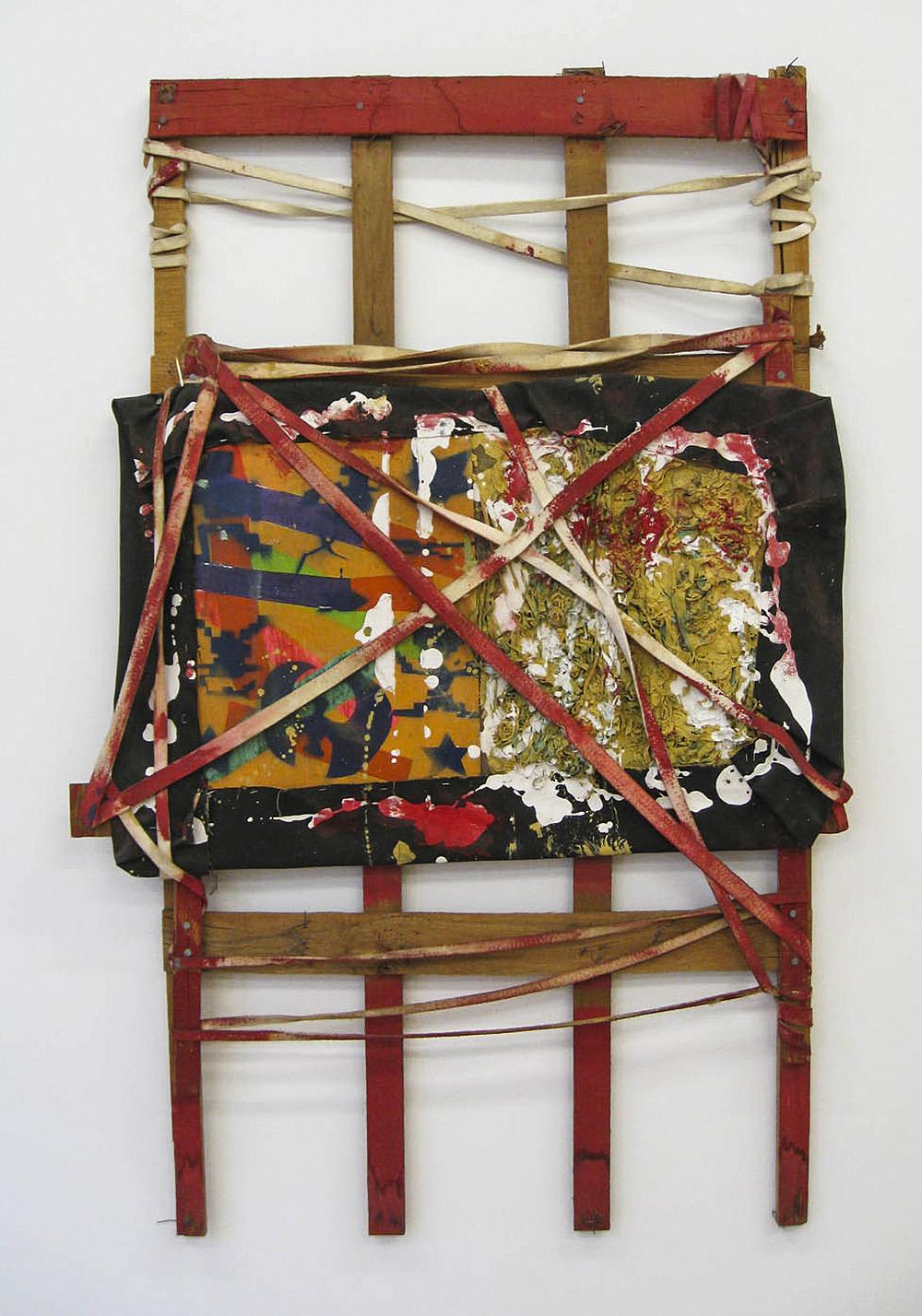 Untitled | 1987 | Lattenkonstruktion, Leinwand, Öl, verschiedene Textilien, Holz | 165 x 106,5 x 8 cm