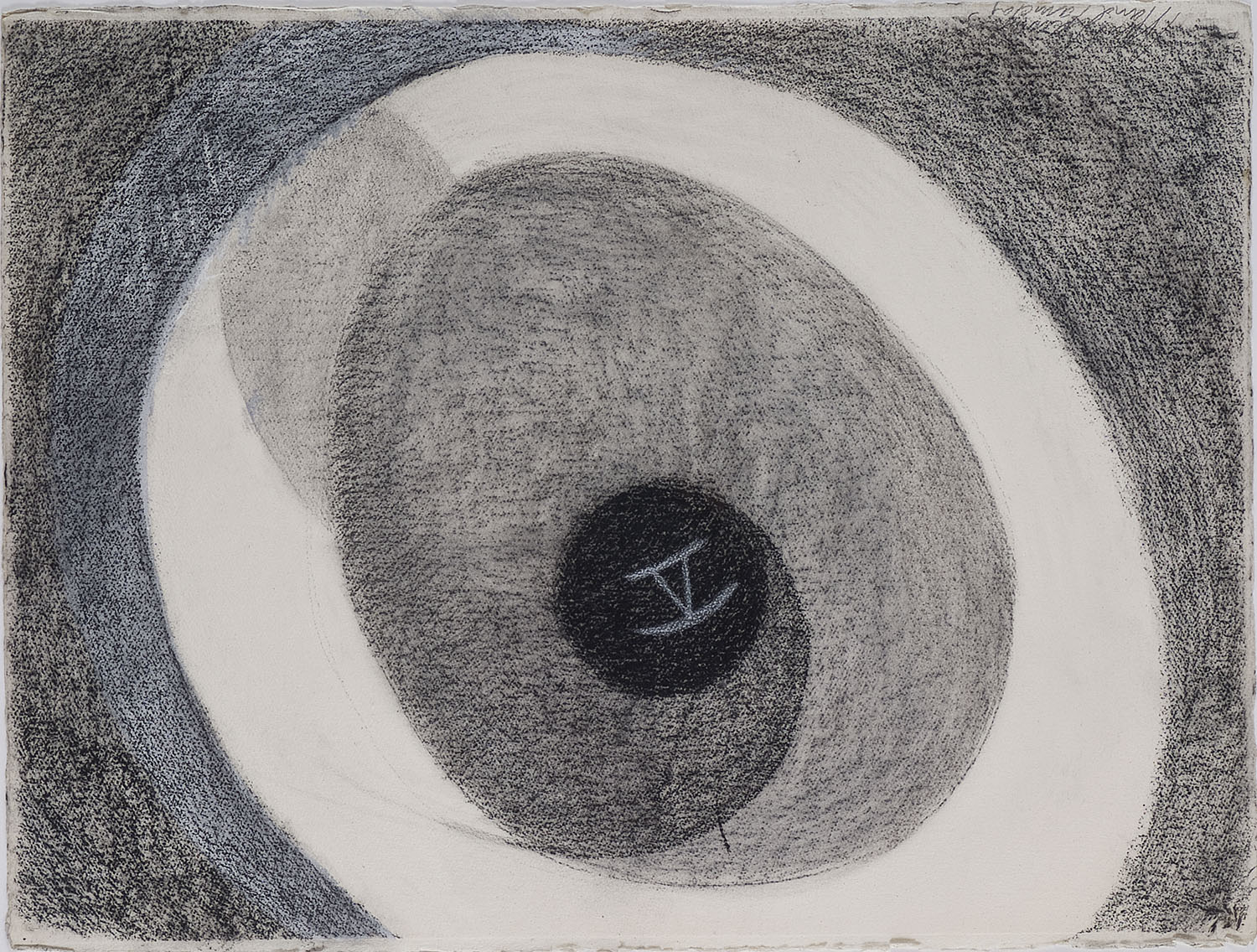 Flying Object moving into a black Circle | 1990 | Zeichnung | 58 x 76 cm