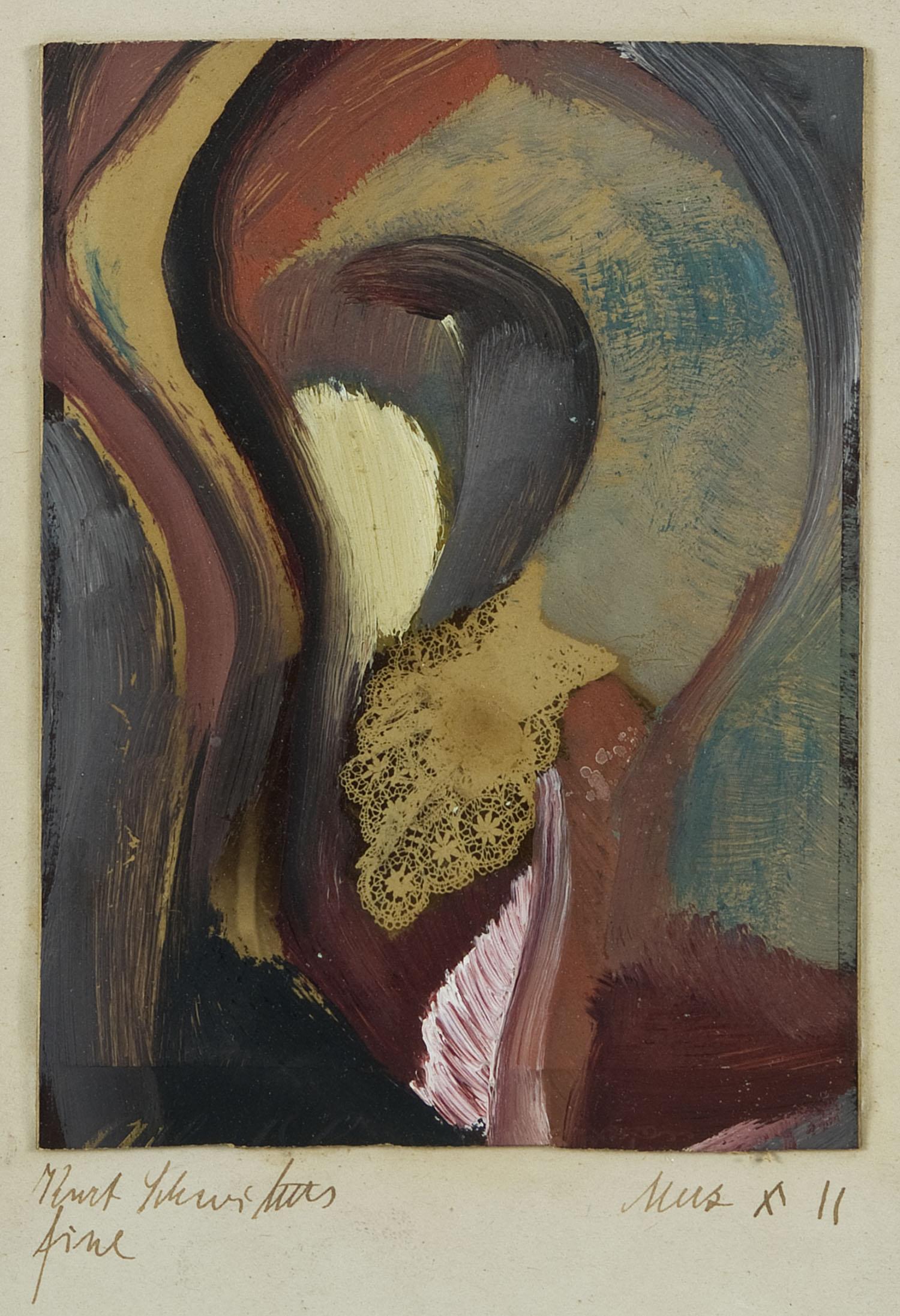 Fine   1911   Öl auf Leinwand auf Papier, Collage   14 x 11 cm