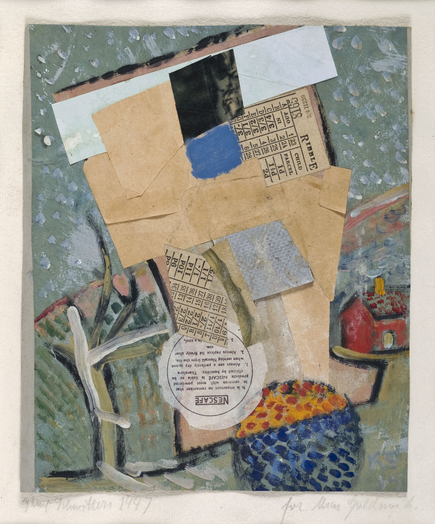 Nescafé-Collage   1947   Collage auf Papier   27 x 22 cm