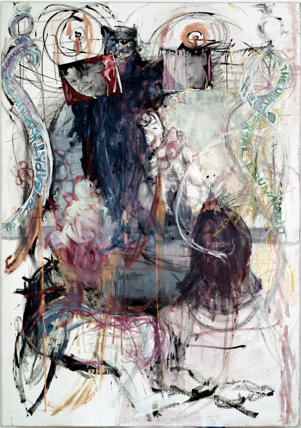 o.T. (Performance) | 1999 | Öl, Mischtechnik und Collage auf Leinwand und Sackleinen | 212 x 150 cm