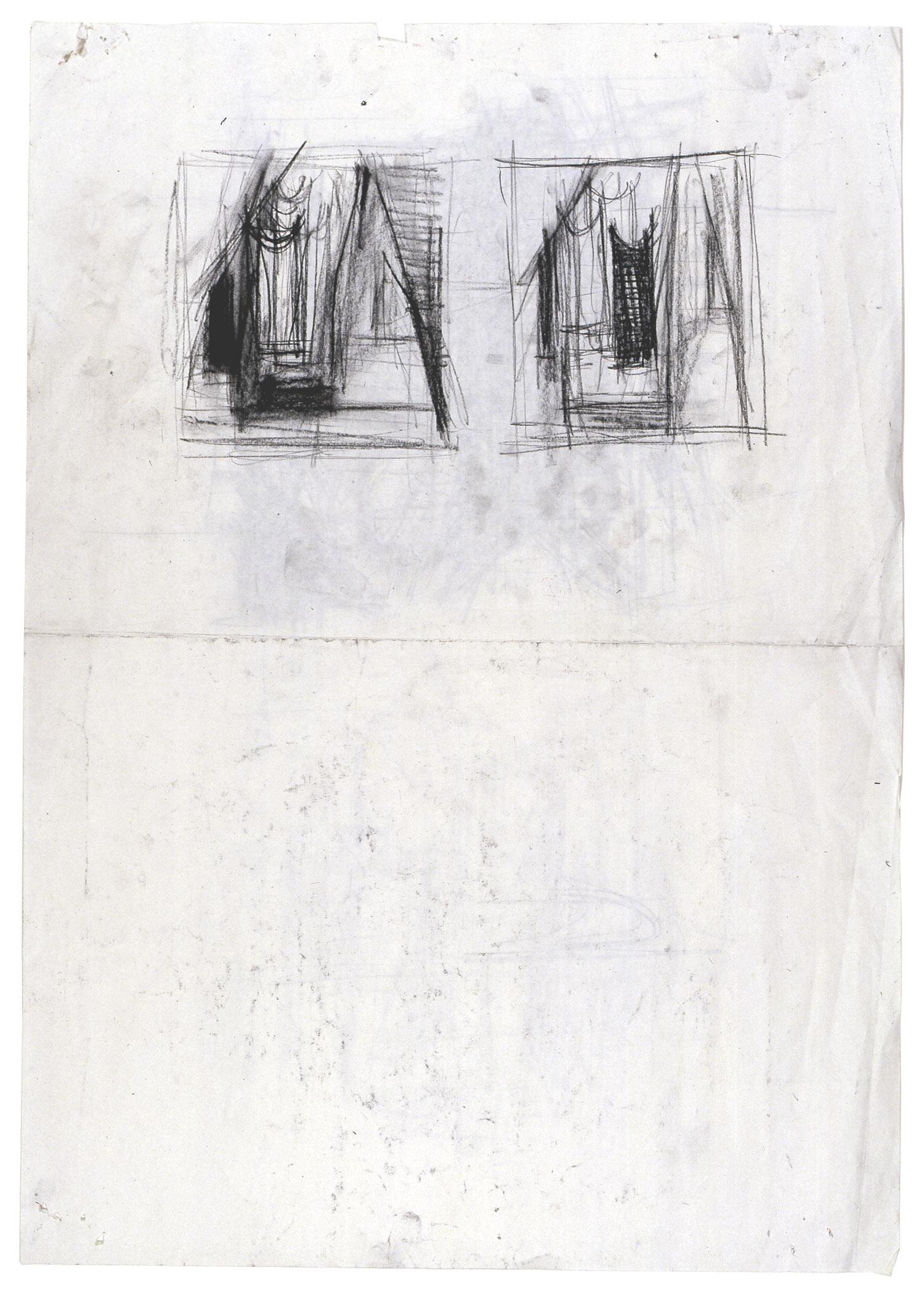 o.T. | 1992 | Kohle auf Papier, doppelseitig | 57,5 x 41 cm