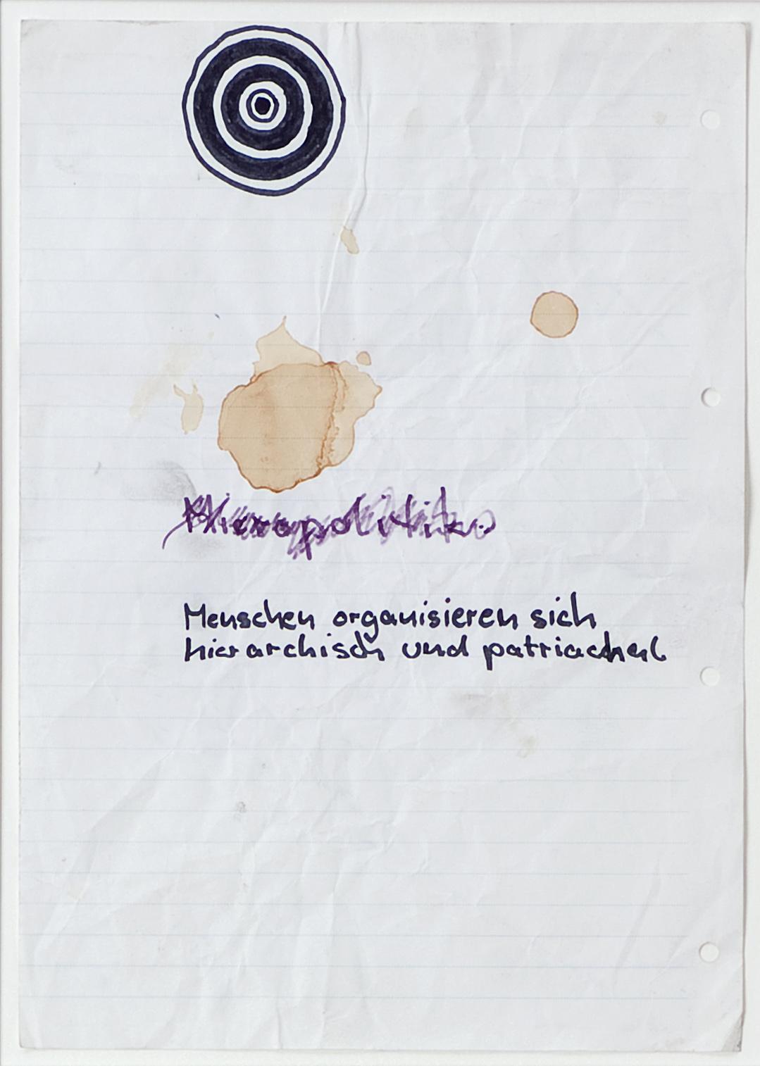 o. T. (Menschen organisieren sich) | n.d. | Filzstift und Kugelschreiber auf liniertem Ringbuchpapier | 21 x 29 cm
