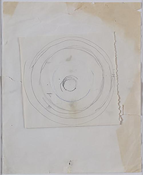 o. T. (Kreise, Sonne) | n.d. | Bleistift und Kugelschreiber auf Pappe, montiert auf Papier | 36 x 30 cm