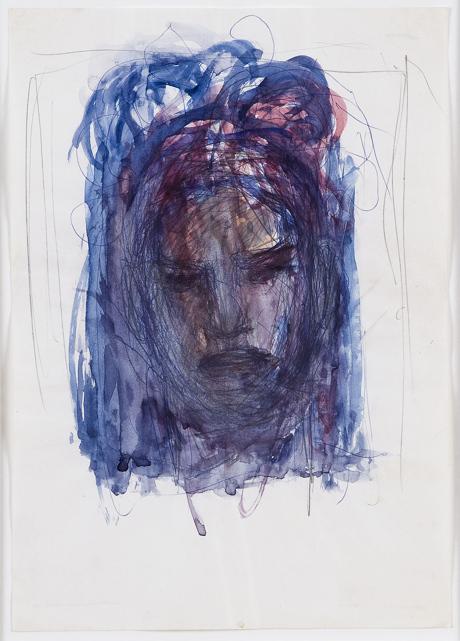 o.T. (Frauenkopf) | n.d. | Bleistift, Kugelschreiber und Wasserfarbe auf Papier | 29,5 x 20,5 cm