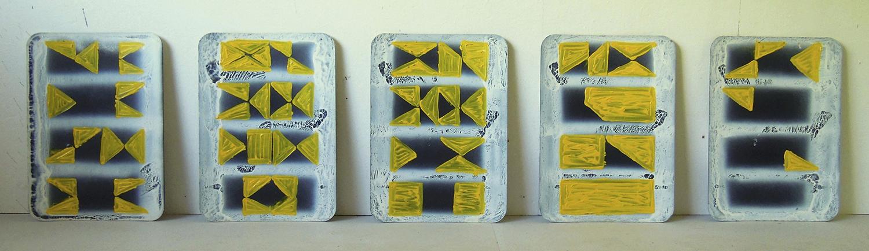 Partitur (Geländer) | Dispersion, Lackspray und Acryl auf Pappe | 1983 | 5-teilig, je 55 x 40 cm