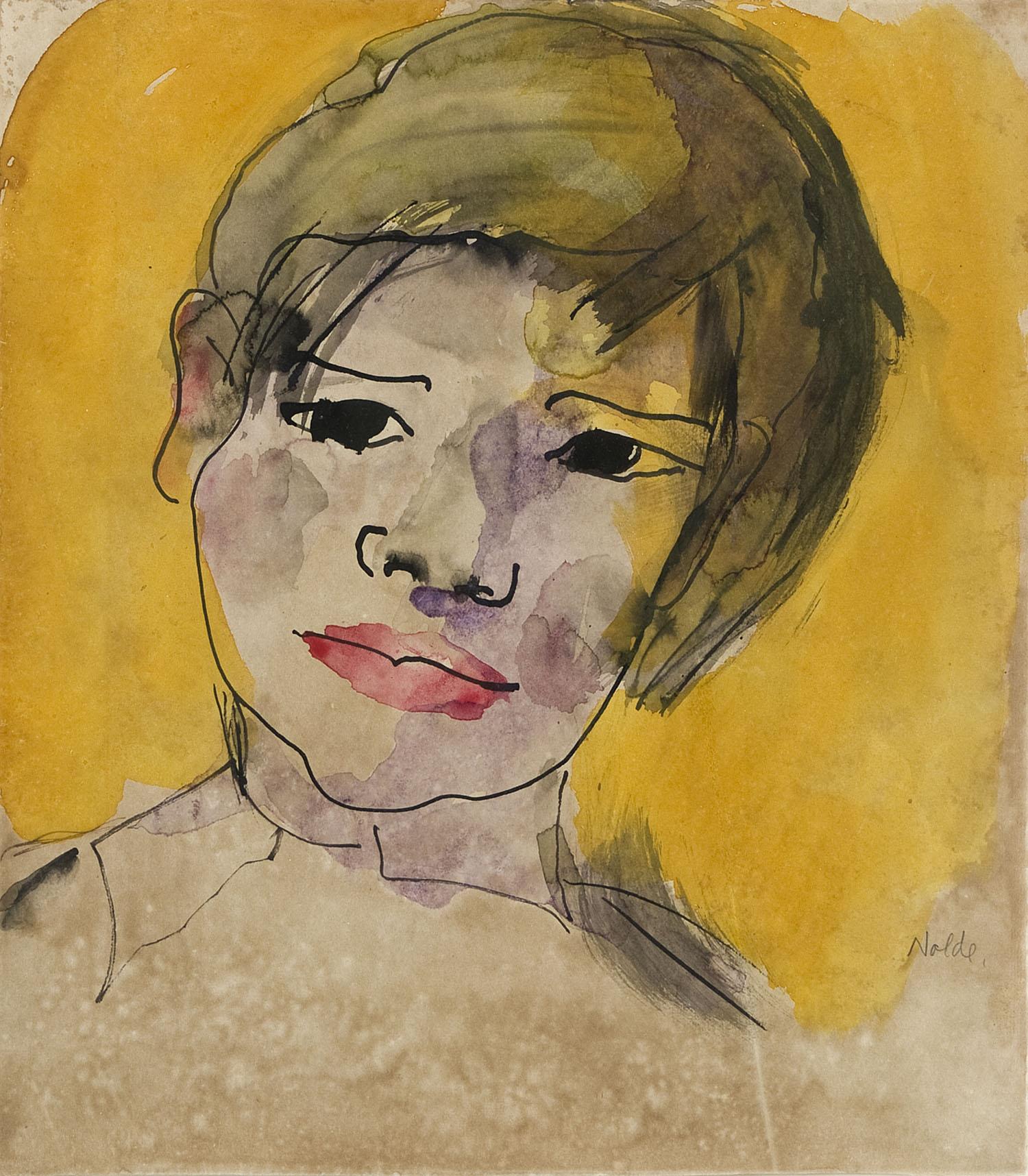 Kopf | vor 1920 |Aquarell und Tinte auf Papier | 29 x 34 cm