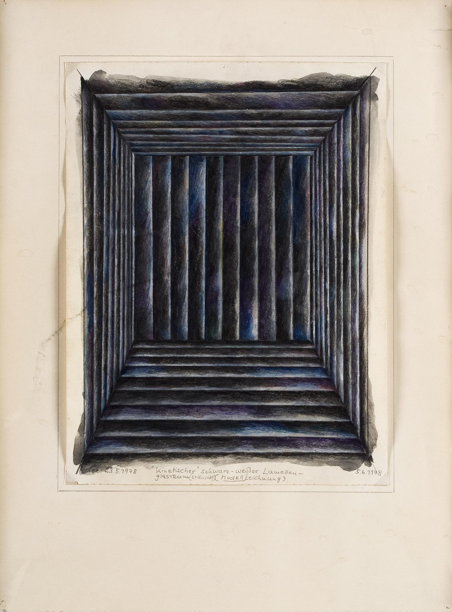 Kinetischer schwarz-weißer Lamellen-Glasraum, Modellzeichnung   1978   Wasserfarbe und Bleibstift auf Papier   40 x 29,5 cm
