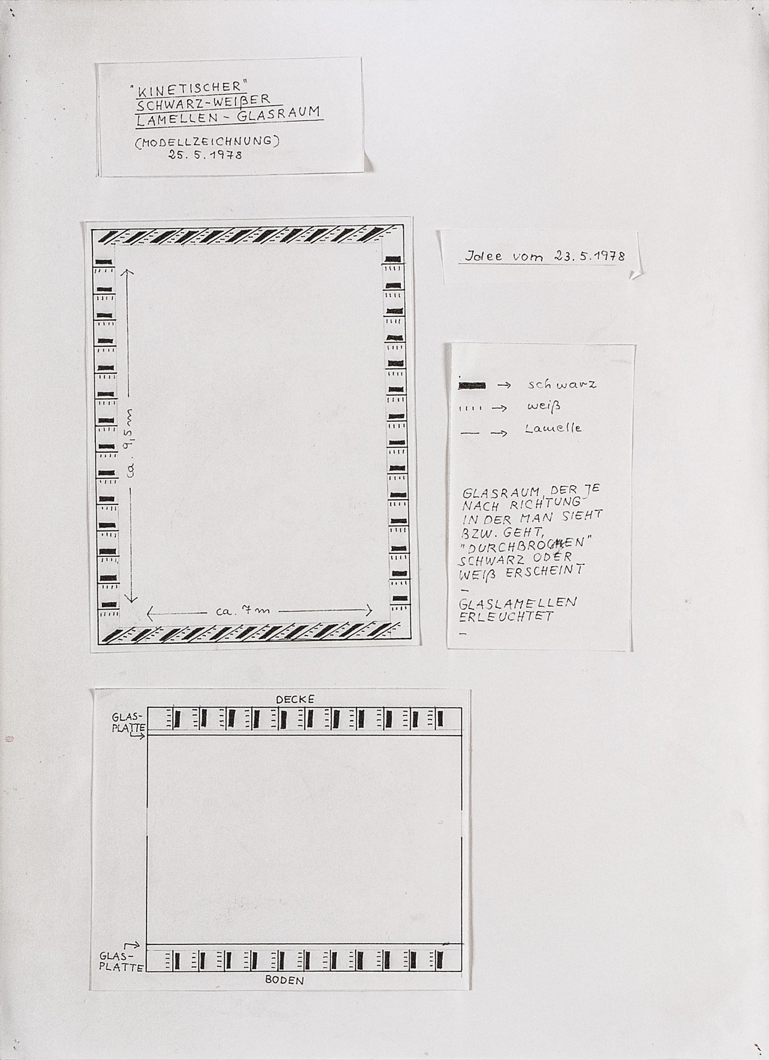 Kinetischer schwarz-weißer Lamellen-Glasraum (erleuchtet), Modellzeichnung   1978   Bleistift, Tusche und Collage auf Karton   40 x 29 cm
