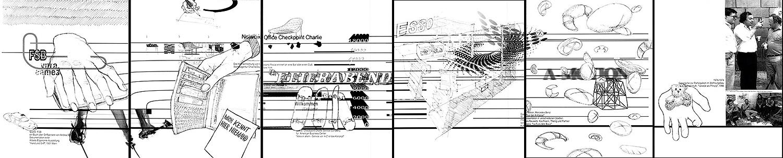 6 x Ambiente und Funktion | 1997 | Papierarbeit, blauer Kugelschreiber auf Laserdruck | 29,5 x 21 cm
