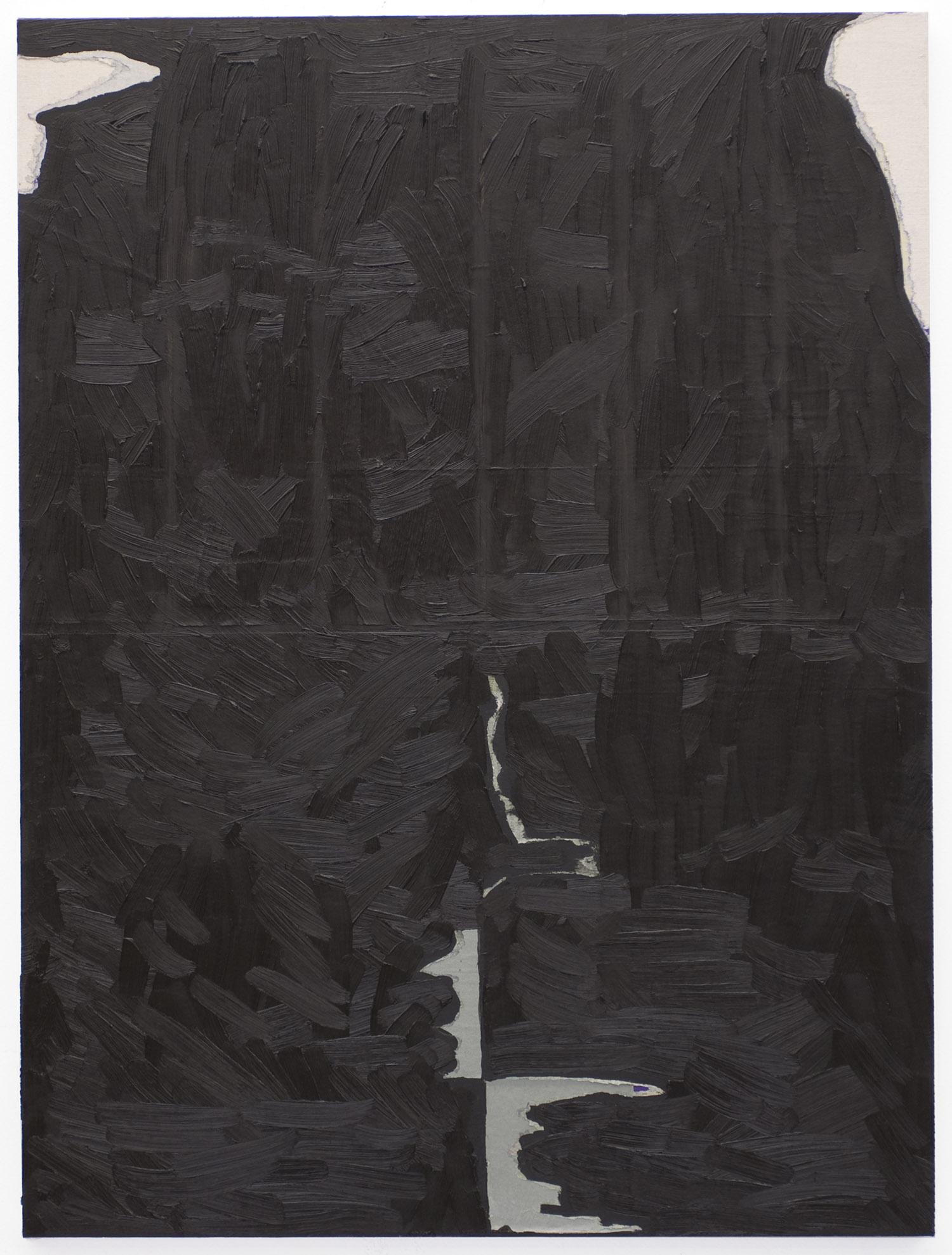 Lob des Schattens | 2009 | Öl, Zeitung, Metallicspray auf Nessel auf MDF | 63 x 47 cm | x