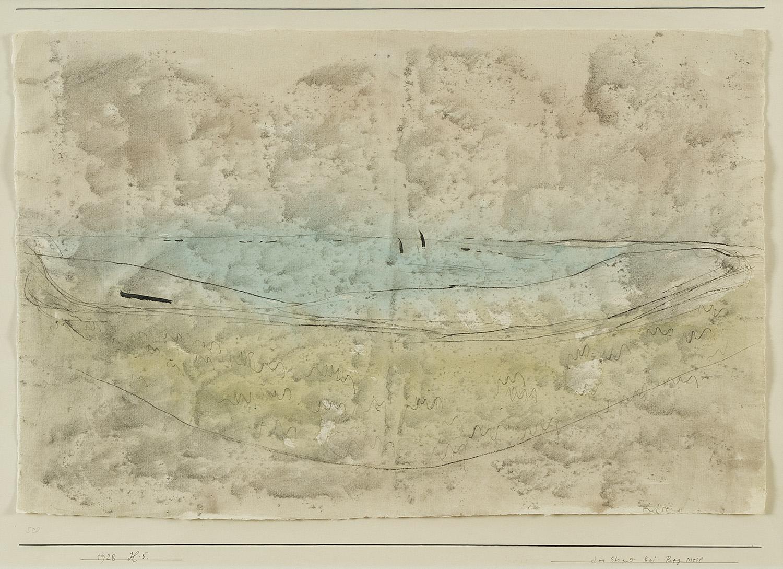 Der Strand bei Beg Meil | 1928 | Feder und Aquarell auf Papier mit Leimtupfen auf Karton | 30 x 41 cm