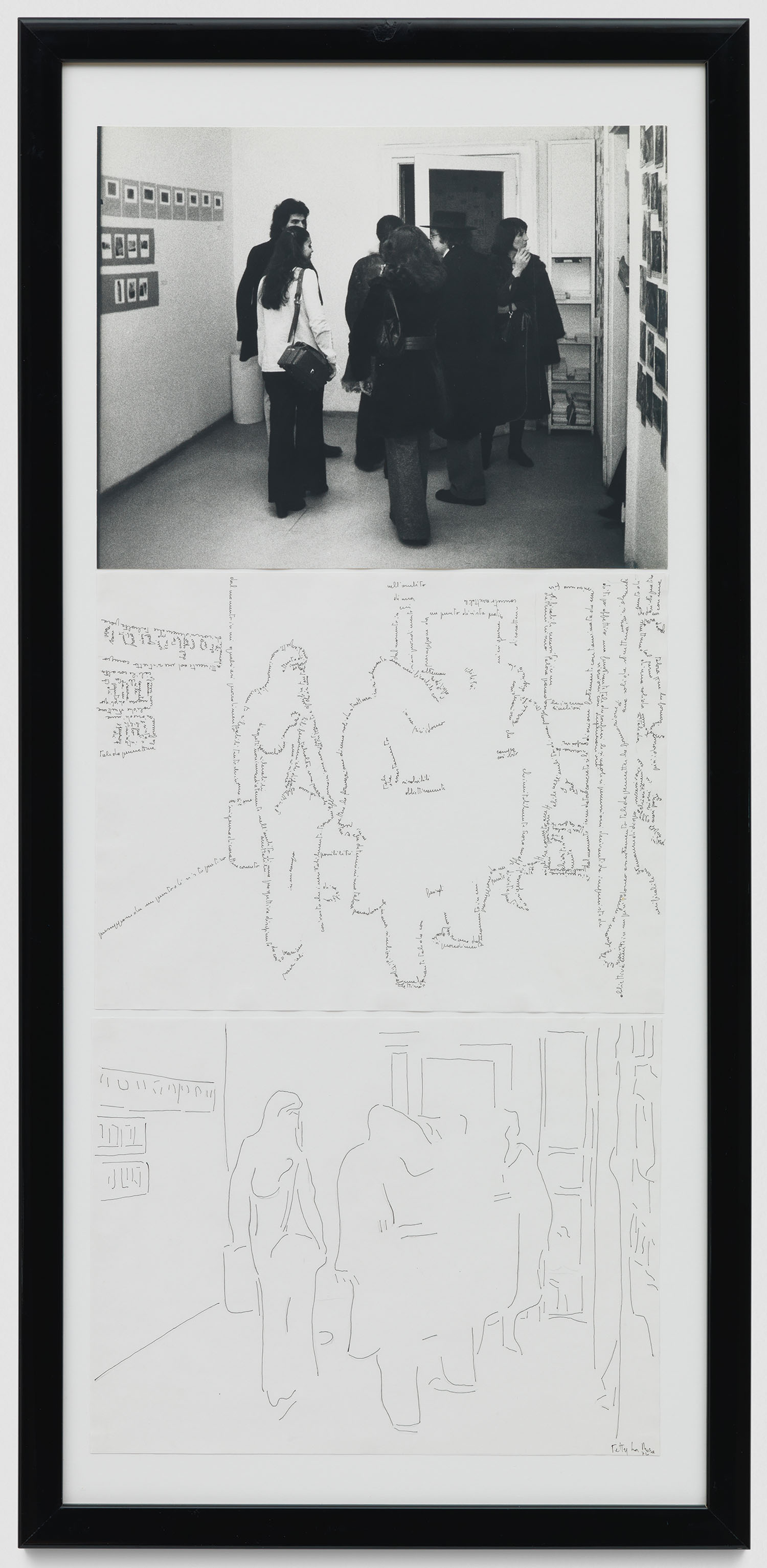 Riduzione (La Galleria) | 1974 | Fotografie und zwei Federzeichnungen | 78 x 35 cm