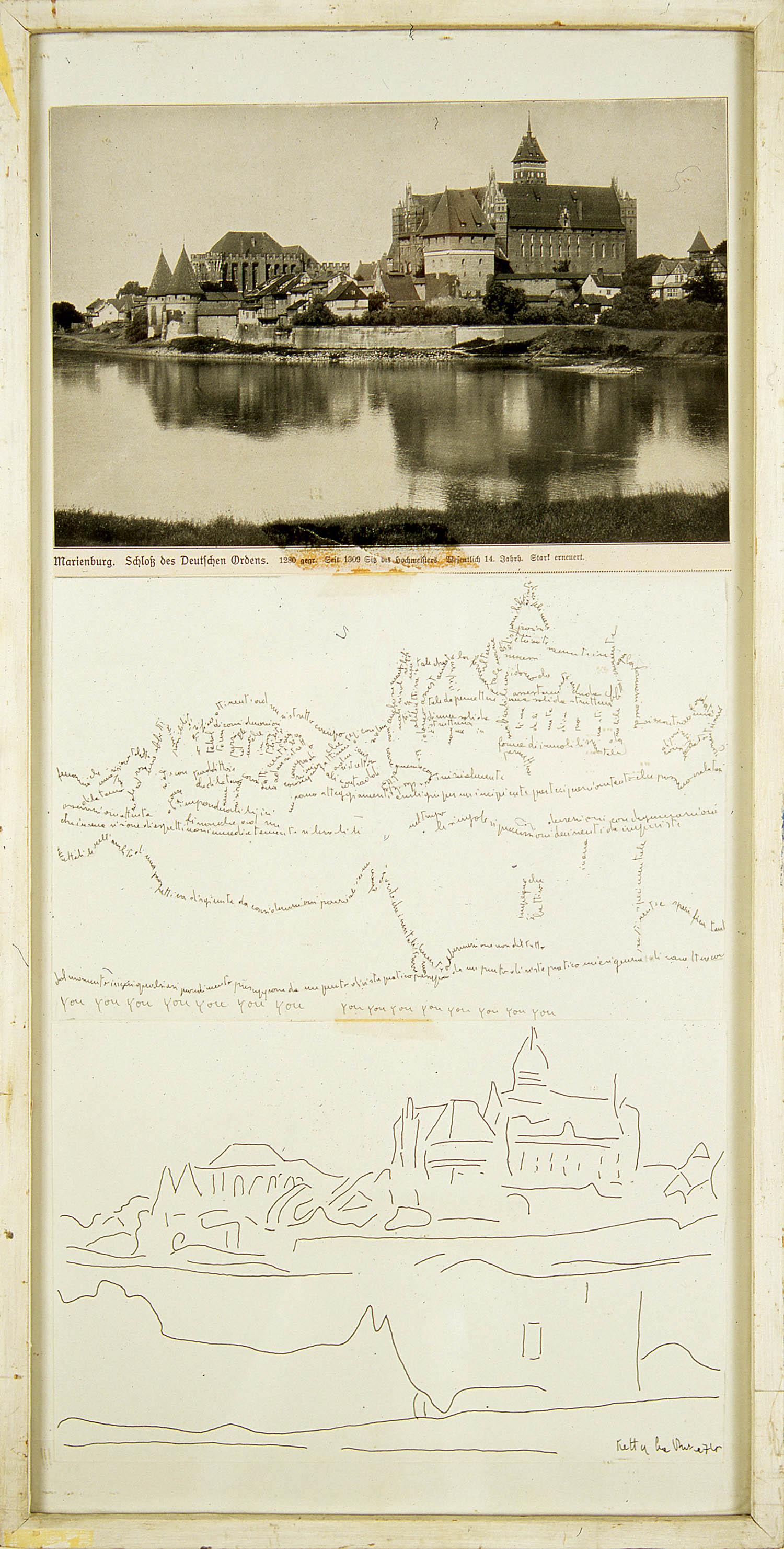 Un Castello | 1974 | Schwarz-weiß-Druck und Federzeichnung auf Papier, montiert auf Karton | 65 x 28 cm