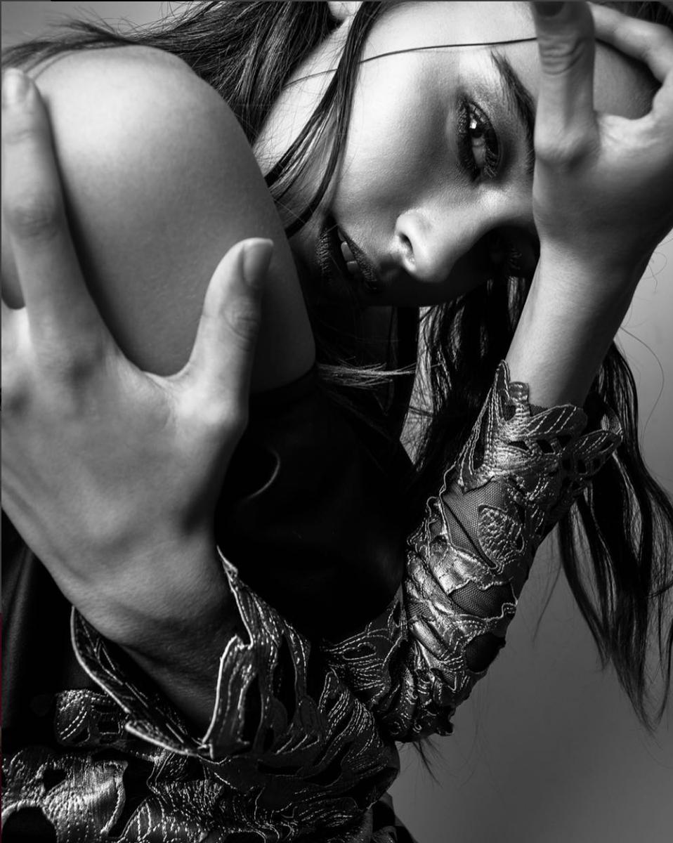 | Black and Golden Applique Long Sleeve Dress | Inner Demons - | Editorial shoot for @lucysmagazine by @tatashot /styling: @zytonic model: @mariaisabelgonzalezc#VA