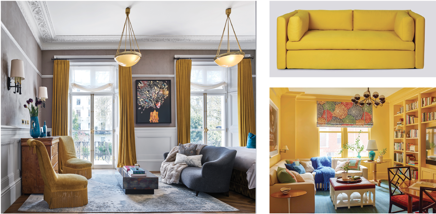 (left) Interiors: Studio L, London, photo. Nick Rochowski   |   (top right) Hackney Sofa by Hay   |   (bottom right) Interiors: Katie Ridder, photo. Eric Piasecki