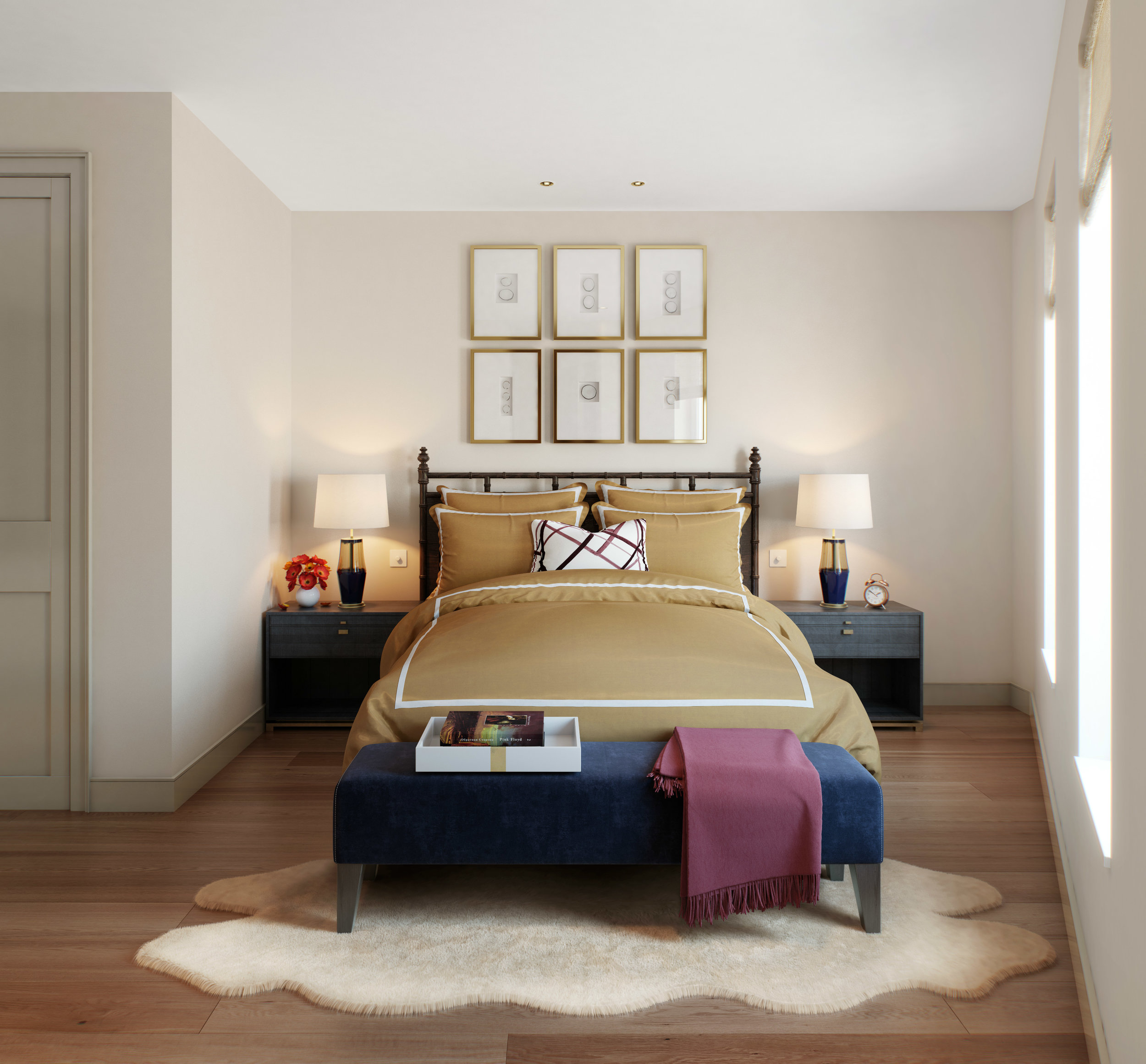 Westminster Fire Station Bedroom CGI styled by Studio L London and rendered by Visualisation One