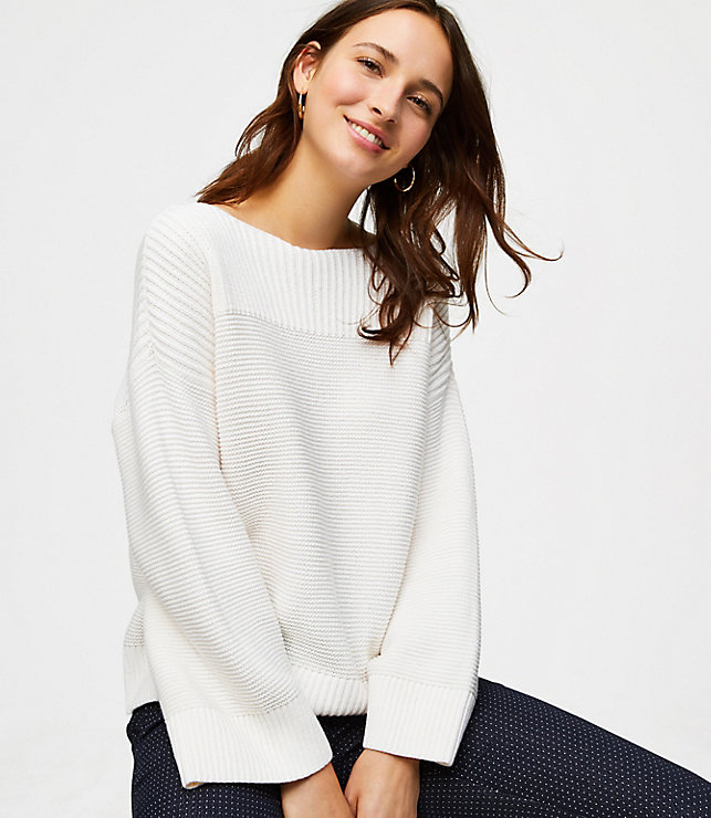 Ribbed Boatneck Sweater - Lou and Grey collection at LOFT