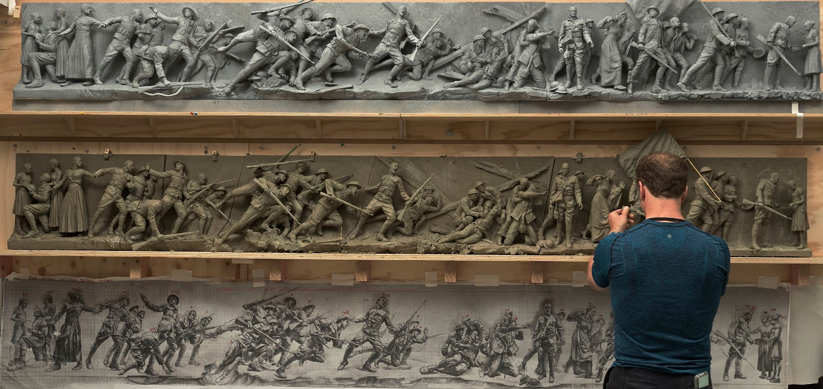 Sabin Howard sculpts the maquette for the National World War I Memorial.