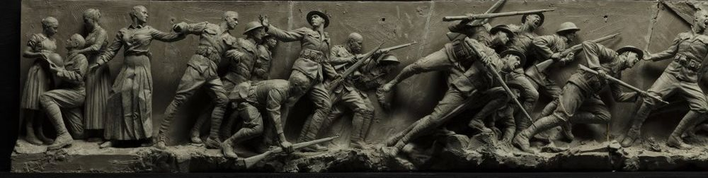 Left side of the maquette for the National World War I Memorial.