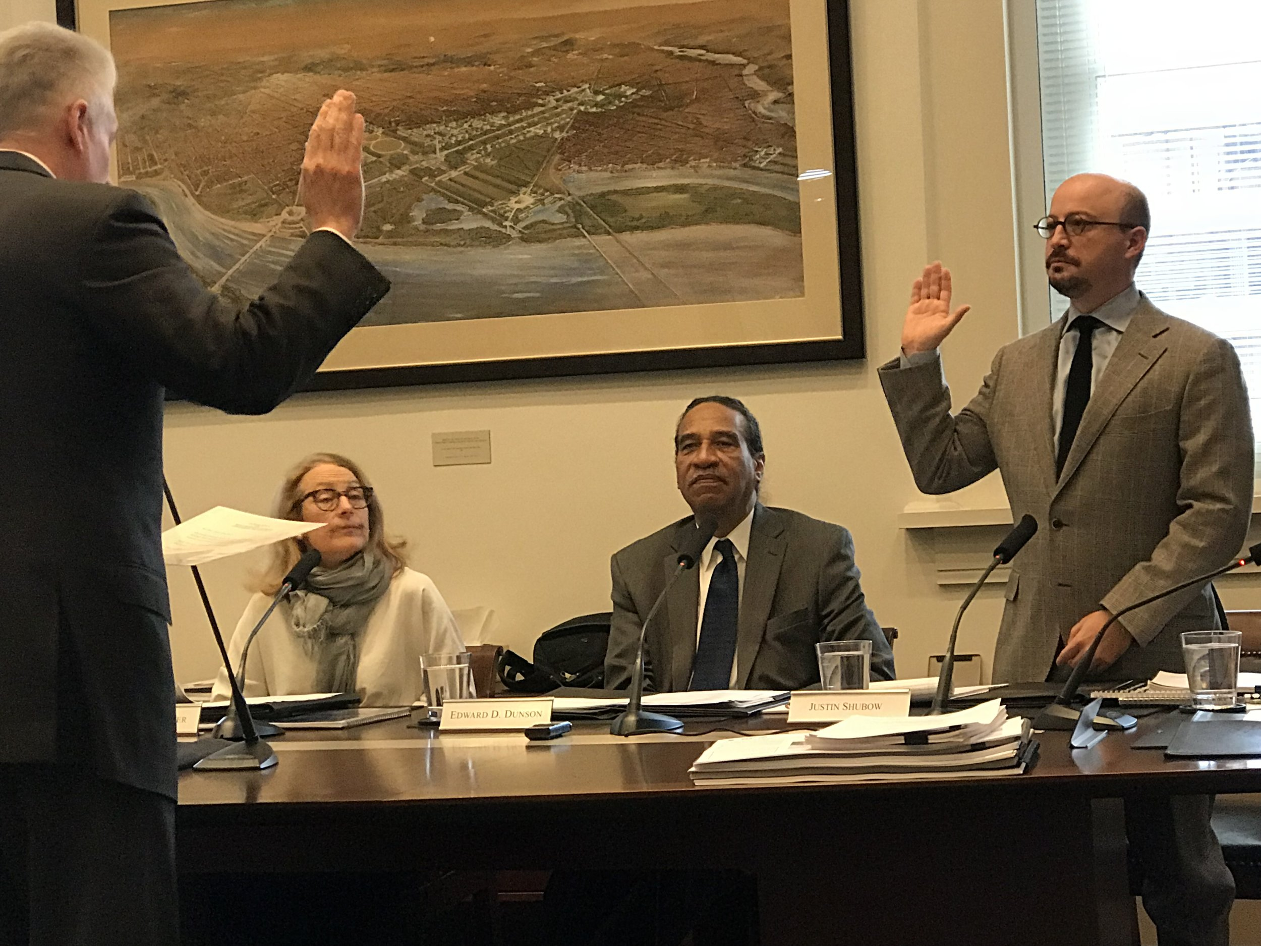 National Civic Art Society President Justin Shubow is sworn into the U.S. Commission of Fine Arts. November 15, 2018.