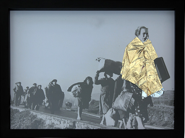 Santiago Vélez    Refugee is a refugee, 2018   Collage, Photography, blanket ends 33 x 44 cm