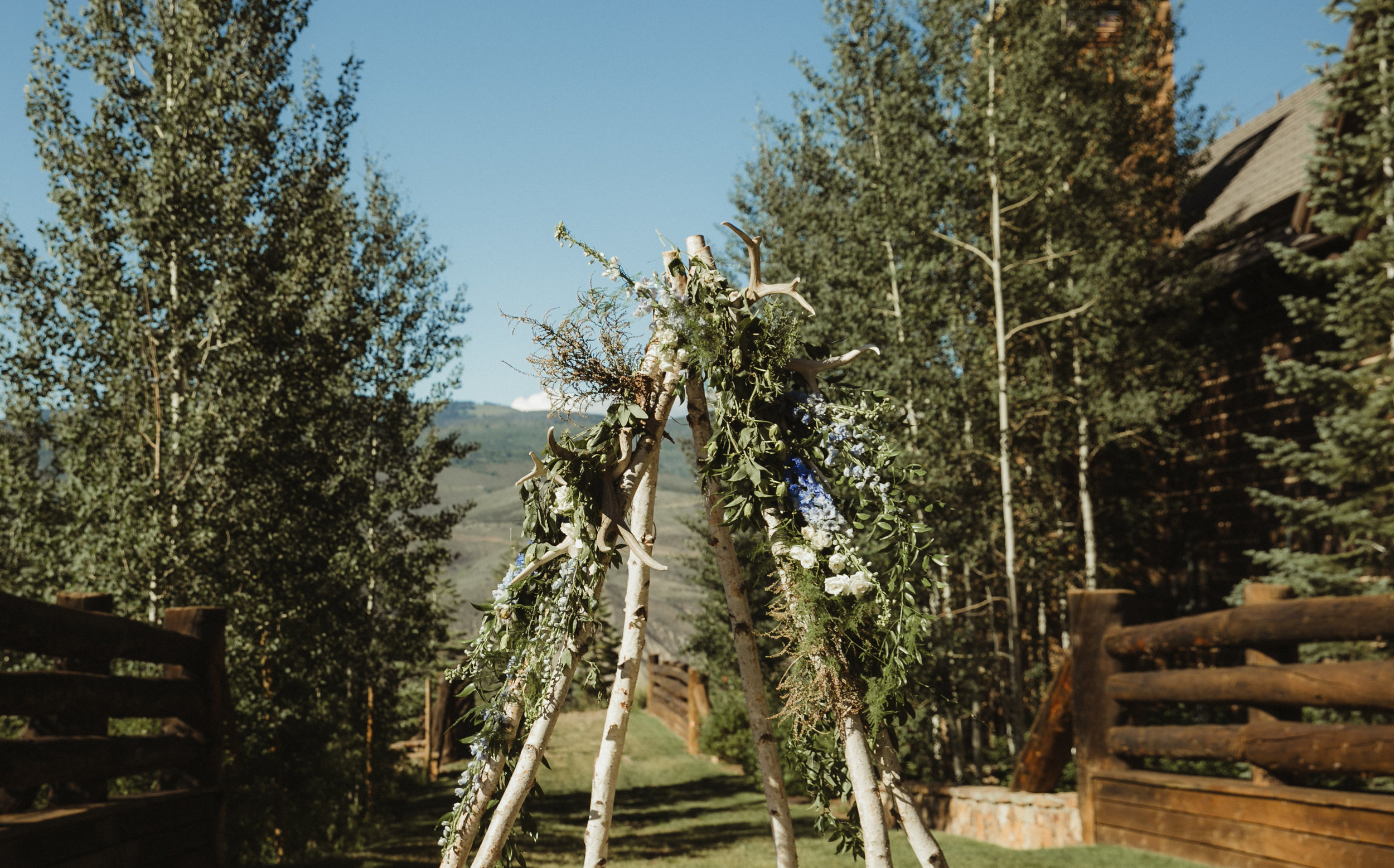 wedding floral arch tepee