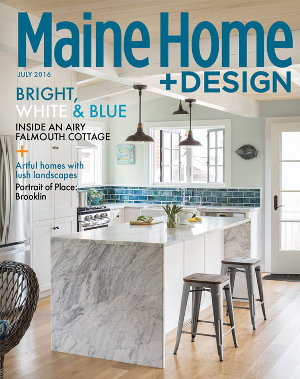 Maine Home & Design July 2016 cover featuring a Hurlbutt Designs bright white and blue kitchen in an airy Falmouth, ME cottage.