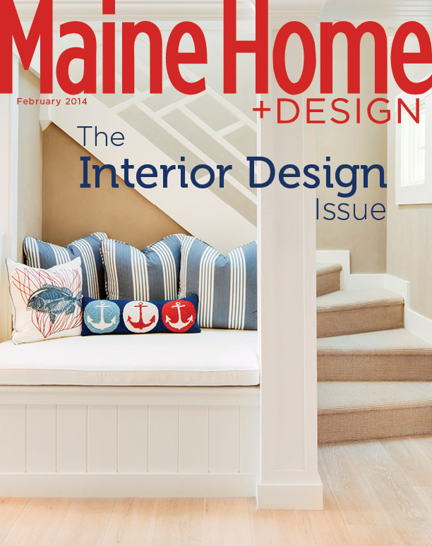 Maine Home & Design February 2014 cover featuring a Hurlbutt Designs home with blue, red, and white accents for the Interior Design Issue.